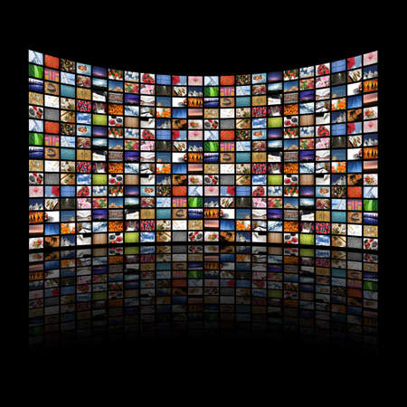 Multi media screens displaying imagesinformation - All images � Daniel Gilbey Stock Photo