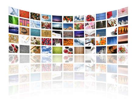 Multi media schermen weergeven van beelden en informatie over de wit - Alle afbeeldingen Daniel Gilbey