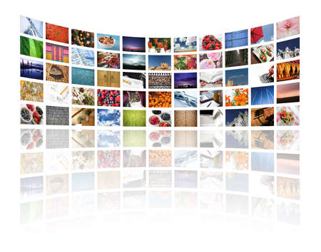 video cables: Multi media screens displaying imagesinformation on white - All images � Daniel Gilbey Stock Photo