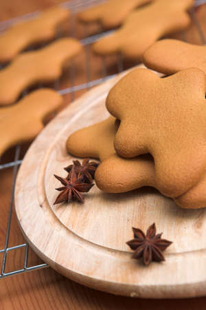 Gingerbread cookies with more cooling in the background - shallow dof photo