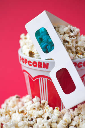 3D glasses & a bucket of popcorn - 3D cinema concept, shallow dof Stock Photo - 6503341