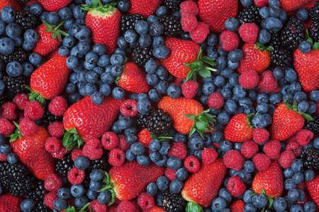 Background image of berries, black, blue, straw & rasp... Standard-Bild