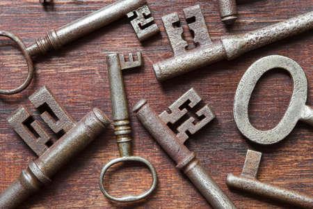 Antique keys background image - shallow dof
