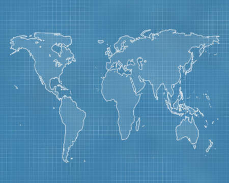 Outline of the world on a blueprint style background Standard-Bild