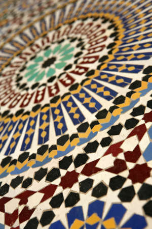 Moroccan mosaic tilework details - shallow dof