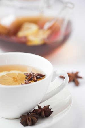 Lemon & anise herbal tea - shallow dof