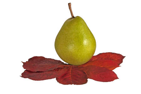 Pear and autumn red leaf photo