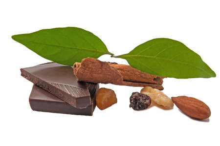 pekan: Chocolate and cinnamon on white background. Stock Photo