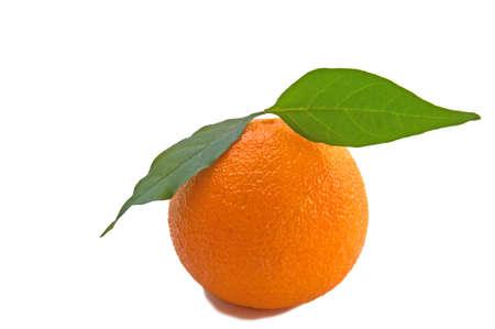 Ripe mandarin isolated on white background.