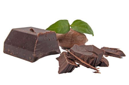 pekan: Dark chocolate and pekan nut. Stock Photo