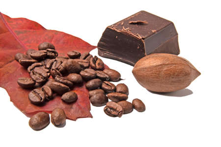 pekan: Dark chokolate and coffe bean. Stock Photo