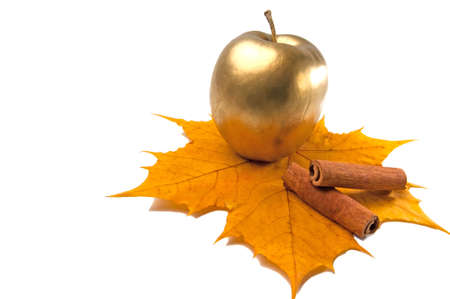 cannelle: Cinnamon and golden apple on yellow leaf.
