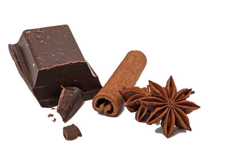 anise: Dark chokolate and anise on white background.