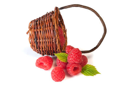 willow fruit basket: Delicious red berries collectet in a brown bamboo basket