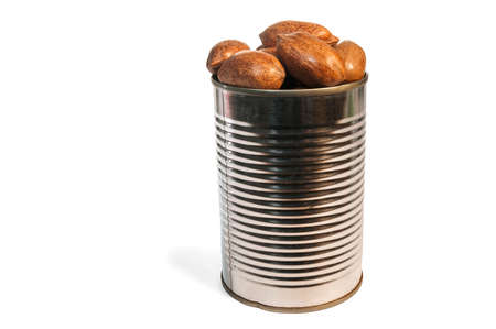 whole pecans: Canned pecan nut in a tin can, over a white background.