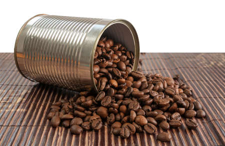 cofe: Nice brown coffe beans in a silver tin can Stock Photo