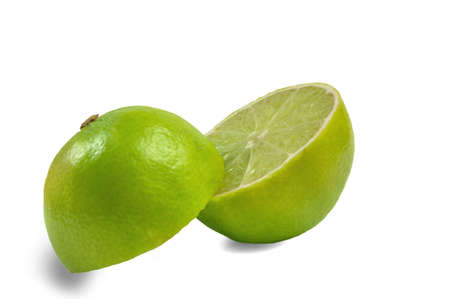 Two half lime fruit on white background photo