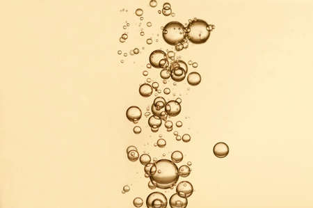 Oxygen bubbles in a champagne glass