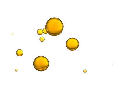 oil drop: Yellow air bubbles isolated over a white background