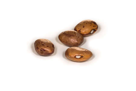 rajma: Four brown beans laying on a white table Stock Photo
