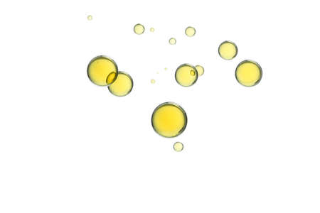 Flying bubbles isolated over a white background. Stock Photo