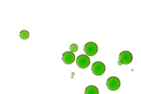 A group of beautiful green paint bubbles.