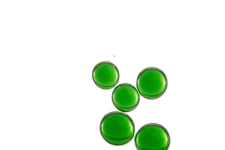 Five large green bubbles isolated over a white background
