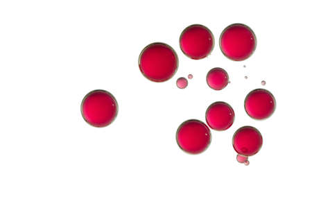 Red colored bubbles soars over a white background.
