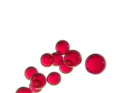 A group of red air bubbles isolated over a white background Imagens