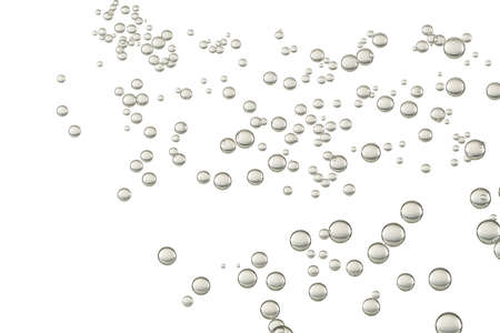 Many small bubbles flying over a white background.