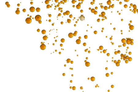 Many orange colored bubbles isolated over a white surface.