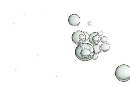 A small group of light green bubbles isolated over a white background.