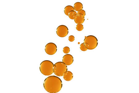 A group of orange bubbles isolated over white. 스톡 콘텐츠