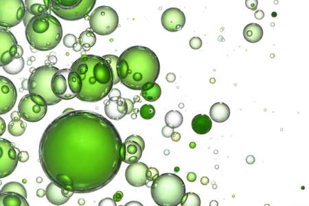 Green bubbles in different color shades.
