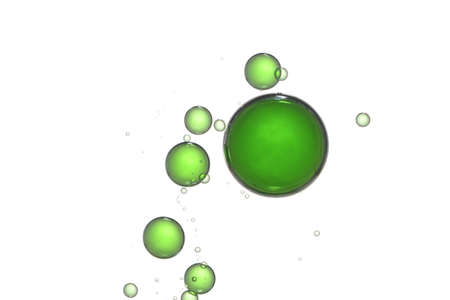 Flowing green bubbles isolated over a white background.