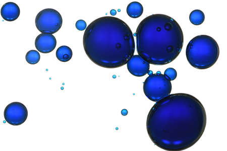 Beautiful blue liquid bubbles isolated over white