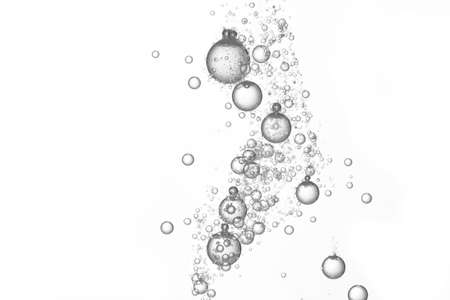 Flowing water create many air bubbles, isolated over white