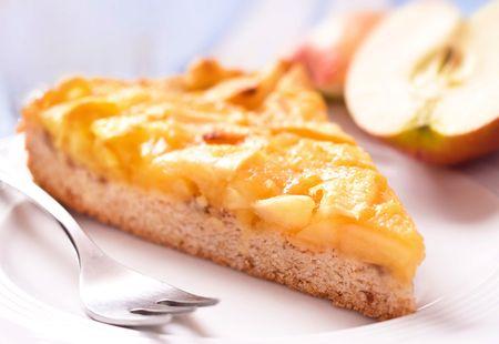 Apple pie on plate, selective DOF