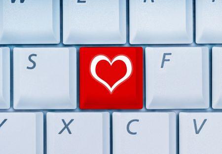 keyboard with heart-key Stock Photo