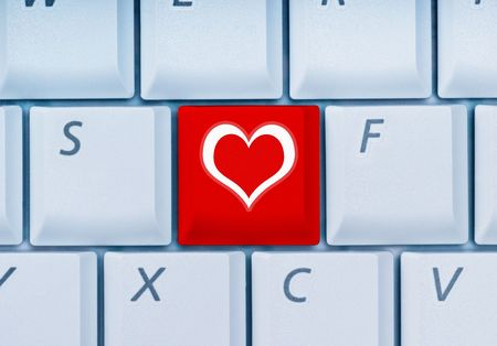 keyboard with heart-key Stock Photo