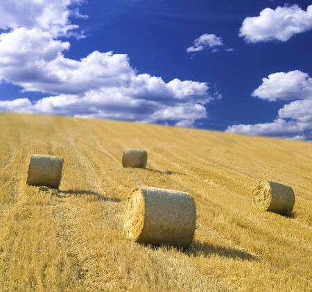 bales of straw and blue cloudy sky Stock Photo - 5114888
