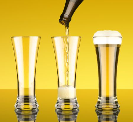 filling a glass of beer Stock Photo