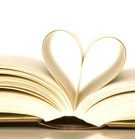loving books (pages of book curved into a heart shape)