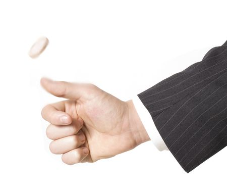 business man flipping a coin Stock Photo