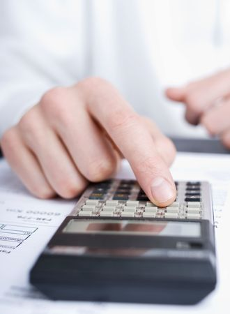 business man calculating