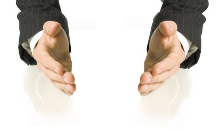 hands of a business man holding something Stock Photo