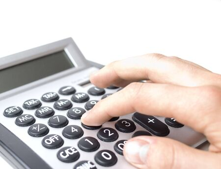 multiplying: using a calculator Stock Photo