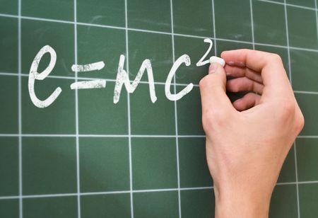Relativit�tstheorie     hand writing on a chalkboard