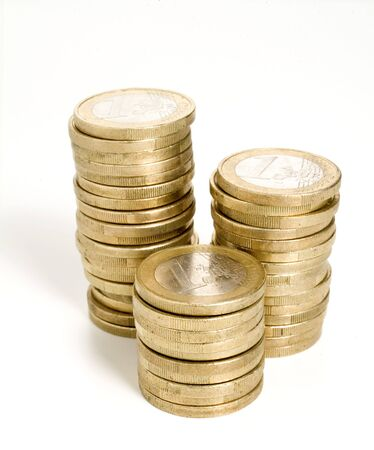 piles of euro coins Stock Photo