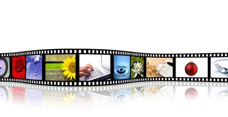 Roll film: ondulado color tira de pel�cula con la reflexi�n (todas las fotos de mi cartera) Foto de archivo